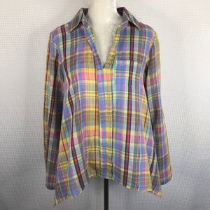 Sundance Plaid Top Medium Pastel Popover Cotton